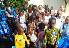AFRICAN CHILDREN HAPPY. Beautiful captivating image of Ivorian African children happy and this is demonstrated by their smile Stock Images