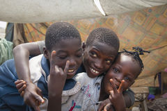 African children making the peace sign Stock Images
