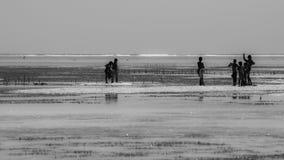 African children playing in the ocean. Near seaweed farm Zanzibar, Tanzania - February 2019 royalty free stock images