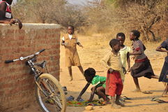 African children playing and running Royalty Free Stock Photography