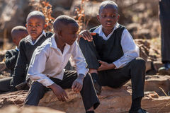 African little boys. South African children in school uniform smiling royalty free stock photo