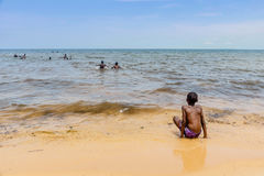 African children swimming in Lake Victoria in Bukoba, Tanzania Royalty Free Stock Images