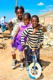 African Children in a Tornado damaged Township. Johannesburg, South Africa - October 04 2011: African Children in a Tornado damaged Township royalty free stock photo