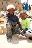 African Children in a Tornado damaged Township. Johannesburg, South Africa - October 04 2011: African Children in a Tornado damaged Township royalty free stock image