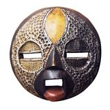 African circular mask isolated on white background. African circular mask Ashanti : wood and metal. Isolated on white background with clipping path Royalty Free Stock Images