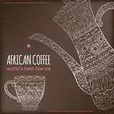 African coffee design with pot and cup with ethnic. Original African coffee design with coffee pot and cup decorated with hand drawn ethnic pattern. Great for Stock Photos