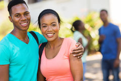African college couple on campus royalty free stock photography