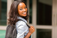 African college girl backpack Royalty Free Stock Photo