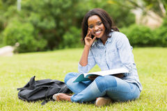 African college girl grass Royalty Free Stock Photos