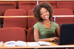 African college girl laptop Royalty Free Stock Photography