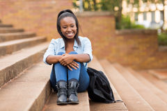 African college girl outdoors Royalty Free Stock Image