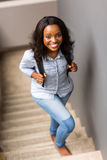 African college girl stairs Royalty Free Stock Photos