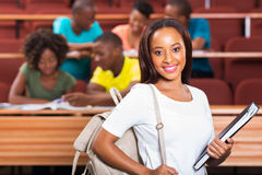 African college student. Cute female african american college student closeup stock photo