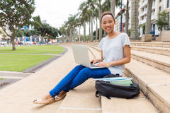 African college student laptop Royalty Free Stock Photography