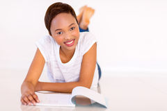 African college student reading Royalty Free Stock Photo