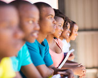 African college students. Group of happy african college students on campus Royalty Free Stock Image