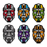 African colorful masks set vector design Royalty Free Stock Photography