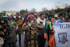 Dublin, Ireland 17 March 2019 St Patrics Day Parade. African community in traditional Nigerian costumes celebrating St. Patrics Day on a parade in Dublin stock photos