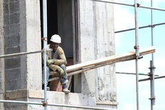African construction worker. Royalty Free Stock Image