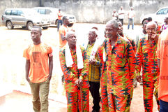 AFRICAN CONTEURS AT THE FUNERAL OF THE MOTHER OF THE PRESIDENT LAURENT GBAGBO Royalty Free Stock Images