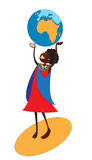 The African continent. A black girl - a teenager from the Maasai toss a large ball with Stock Photography