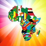 African Continent Flag Map vector illustration