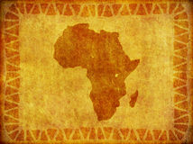 African Continent Grunge Background. A background design of the continent of Africa imprinted on a piece of aged material vector illustration