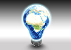 African continent in light bulb. Conceptual illustration of African, Asian and European continents in switched on light bulb with studio background, global Stock Photo