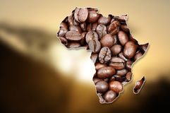 African continent made with coffee beans Stock Photo