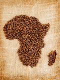 African continent map made from coffee beans Stock Images