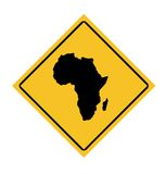 African continent road sign. Isolated on white background royalty free illustration