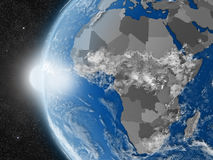 African continent from space. Concept of planet Earth as seen from space but with political borders aimed at African continent Stock Photos