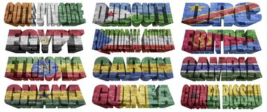 African countries (From C to G) flag words Royalty Free Stock Image