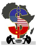 Exploitation of African people. African countries are getting exploited by western countries and China, leaving the poor behind like beggars royalty free illustration