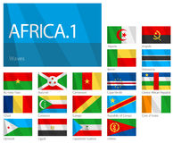 African Countries - Part 1. World Flags Series. Design Waves & No Borders. Vector file with 18 waving flags of African countries. It contains first part of flags Vector Illustration