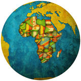 African countries territories on globe map Stock Images