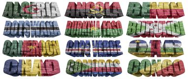 African countries (From A to C) flag words. On a white background vector illustration