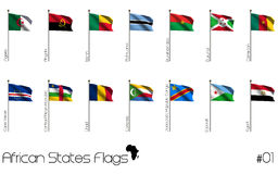 African country flags. Different African country flags on white background Royalty Free Stock Photos