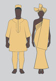 African couple. Average african couple in traditional clothes vector stock illustration