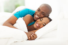 African couple bed Royalty Free Stock Image