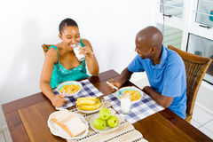 African couple breakfast royalty free stock photography