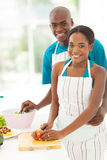 African couple cooking Royalty Free Stock Images