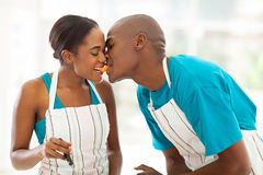 African couple eating Stock Photo