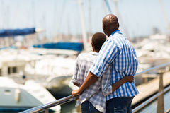 African couple harbour Stock Photos