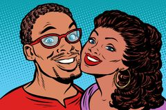 African couple kissing, smiling. Pop art retro vector illustration kitsch vintage drawing royalty free illustration