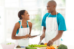 African couple kitchen Royalty Free Stock Photography