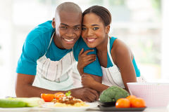 African couple kitchen Royalty Free Stock Image