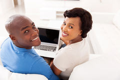 African couple laptop computer Royalty Free Stock Photos