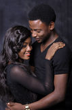 African couple love. African American couple love against black background stock image