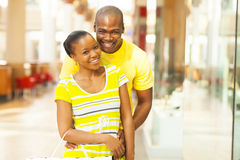 African couple mall. Portrait of african american couple in shopping mall Royalty Free Stock Photos